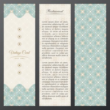 Islam vintage luxury cards. Vector set of ornate in ethnic design. Gold labels with place for text. Eastern floral frame pattern