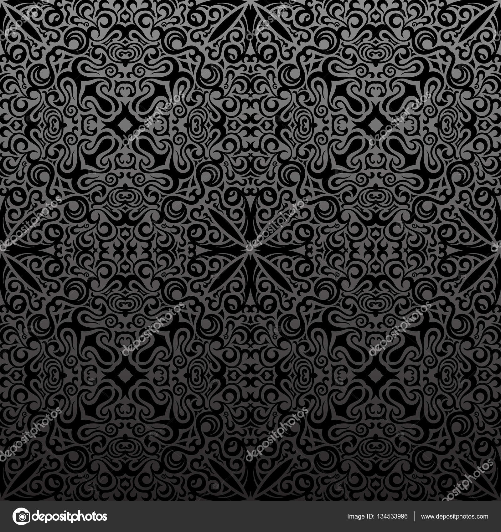 Seamless Islam Pattern Vintage Black Floral Background Stock