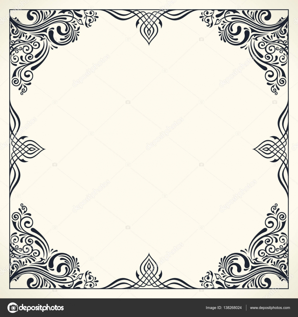 Calligraphic Border Frame Design Template For Wedding Greeting Card