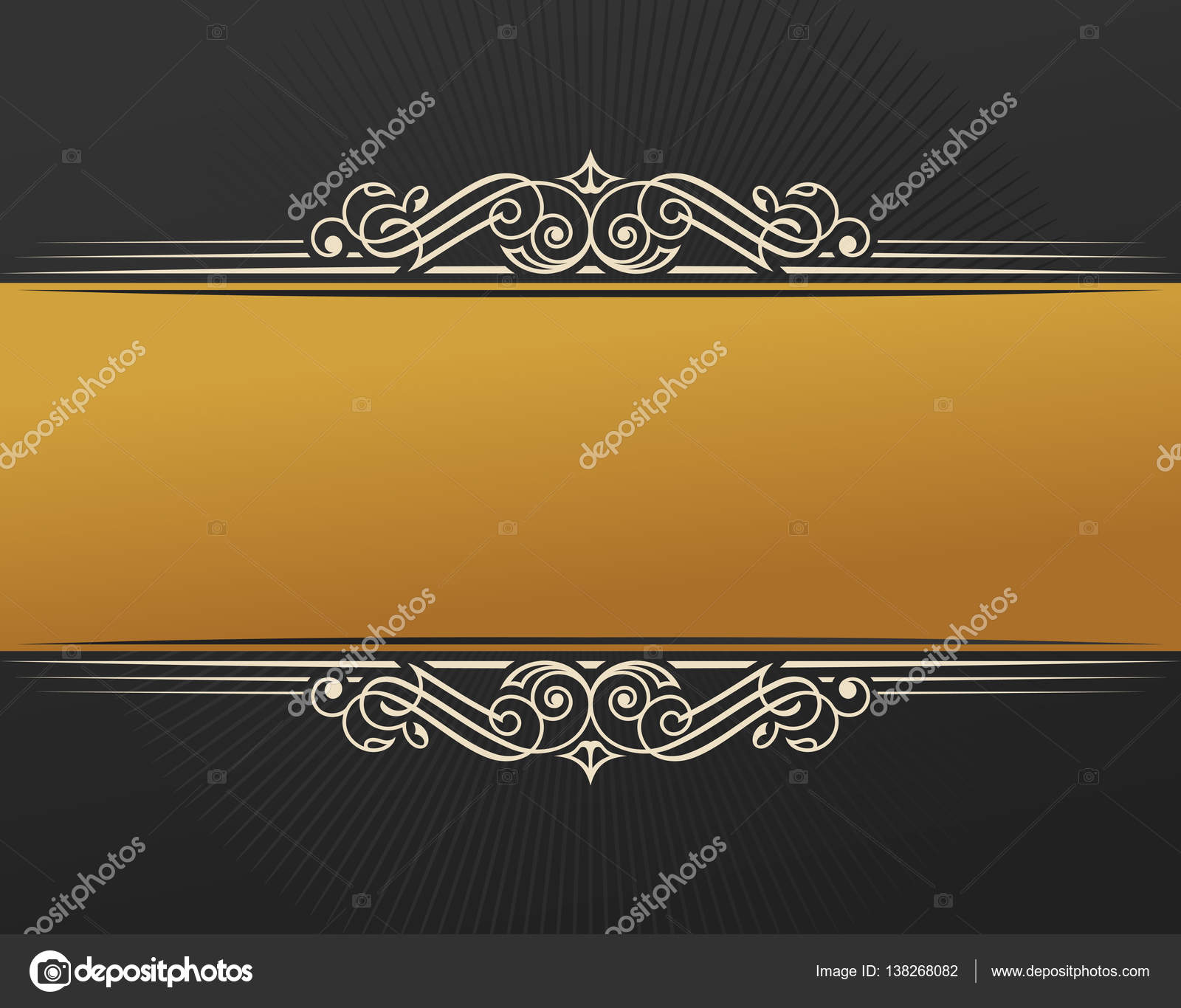 Banner islam ethnic design gold invitation vintage label frame gold invitation vintage label frame blank sticker emblem eastern black illustration for text luxury vignette for a gift card invitation template logo stopboris Image collections