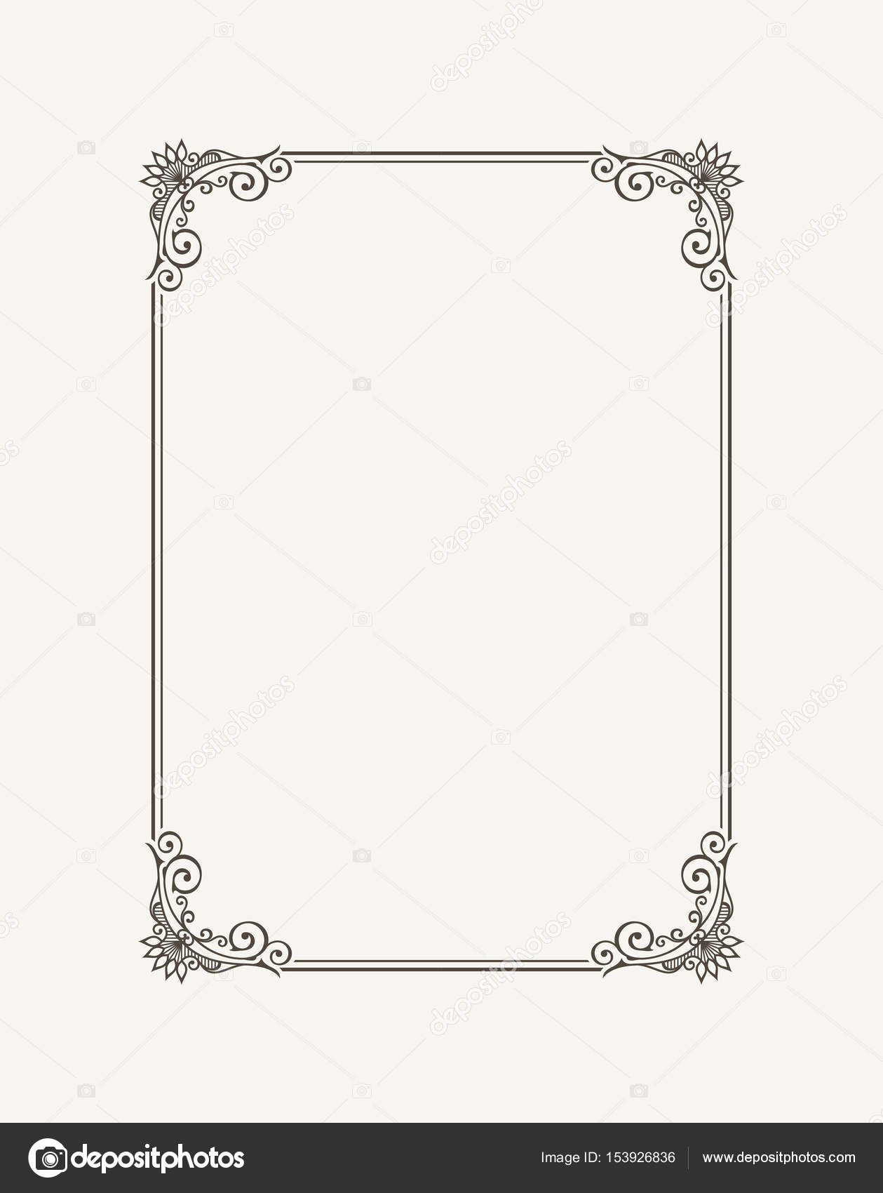 Vintage calligraphic frame. Black and white vector border of the ...