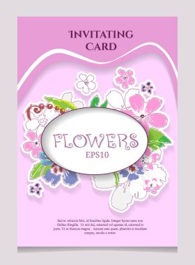 Greeting Card with Blooming Flowers. With Place for Your Text. V