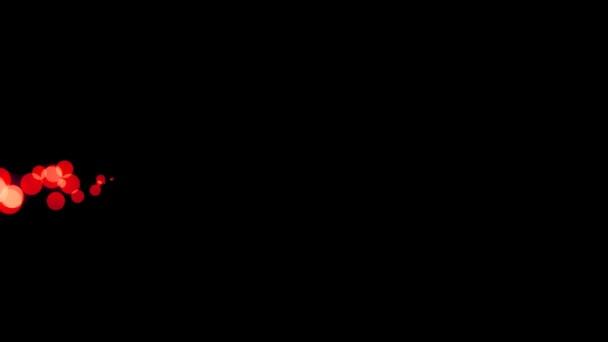 Horizontálně šíří zářivě červené tečky na tmavém pozadí animace pohybu