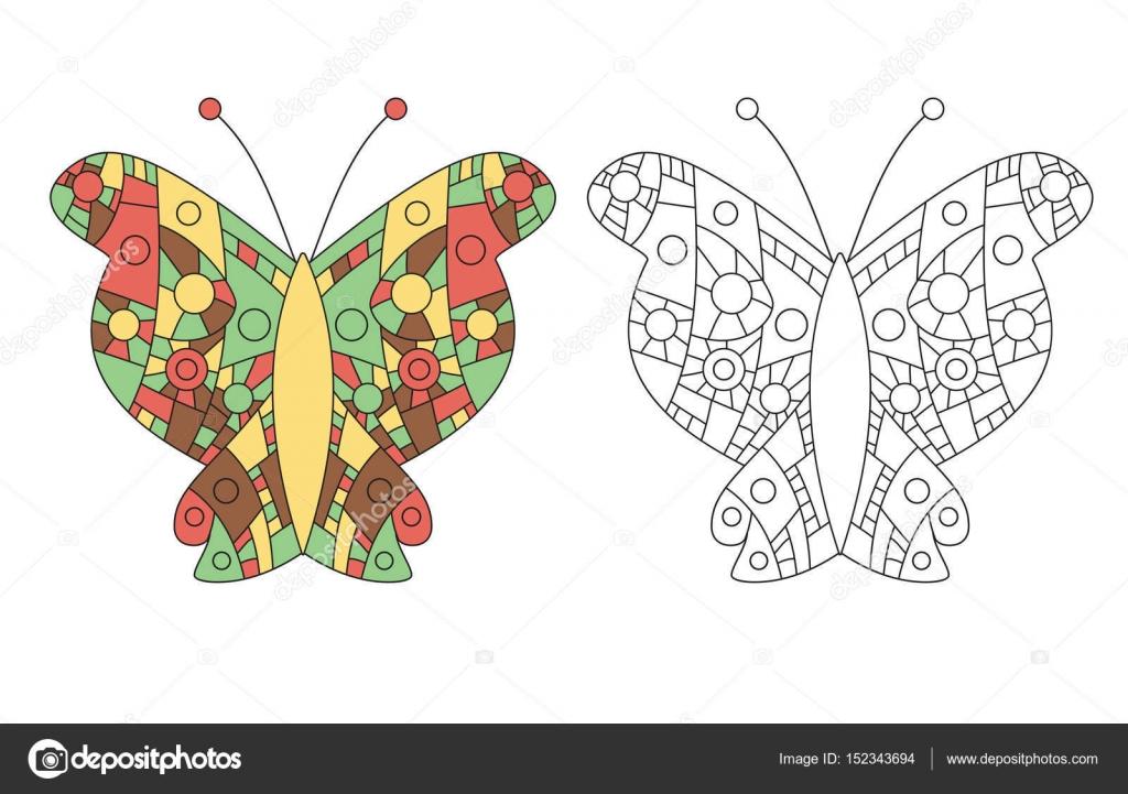Zentangle para colorear vector de mariposa libro — Vector de stock ...
