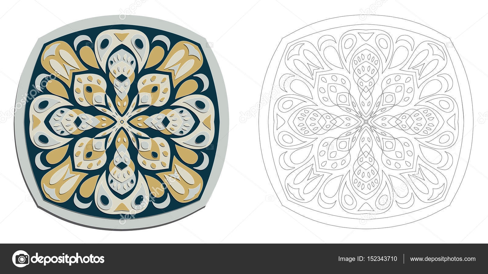 vector de flor dibujo Mandala para colorear — Vector de stock ...