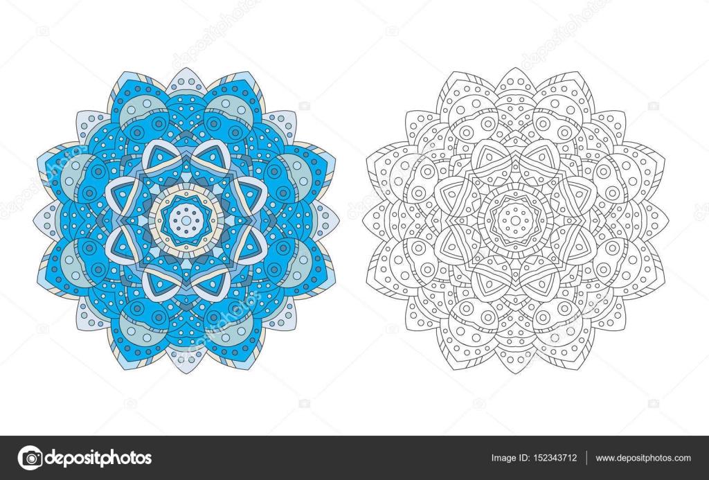 vector de página del colorante de la mandala de la flor — Archivo ...
