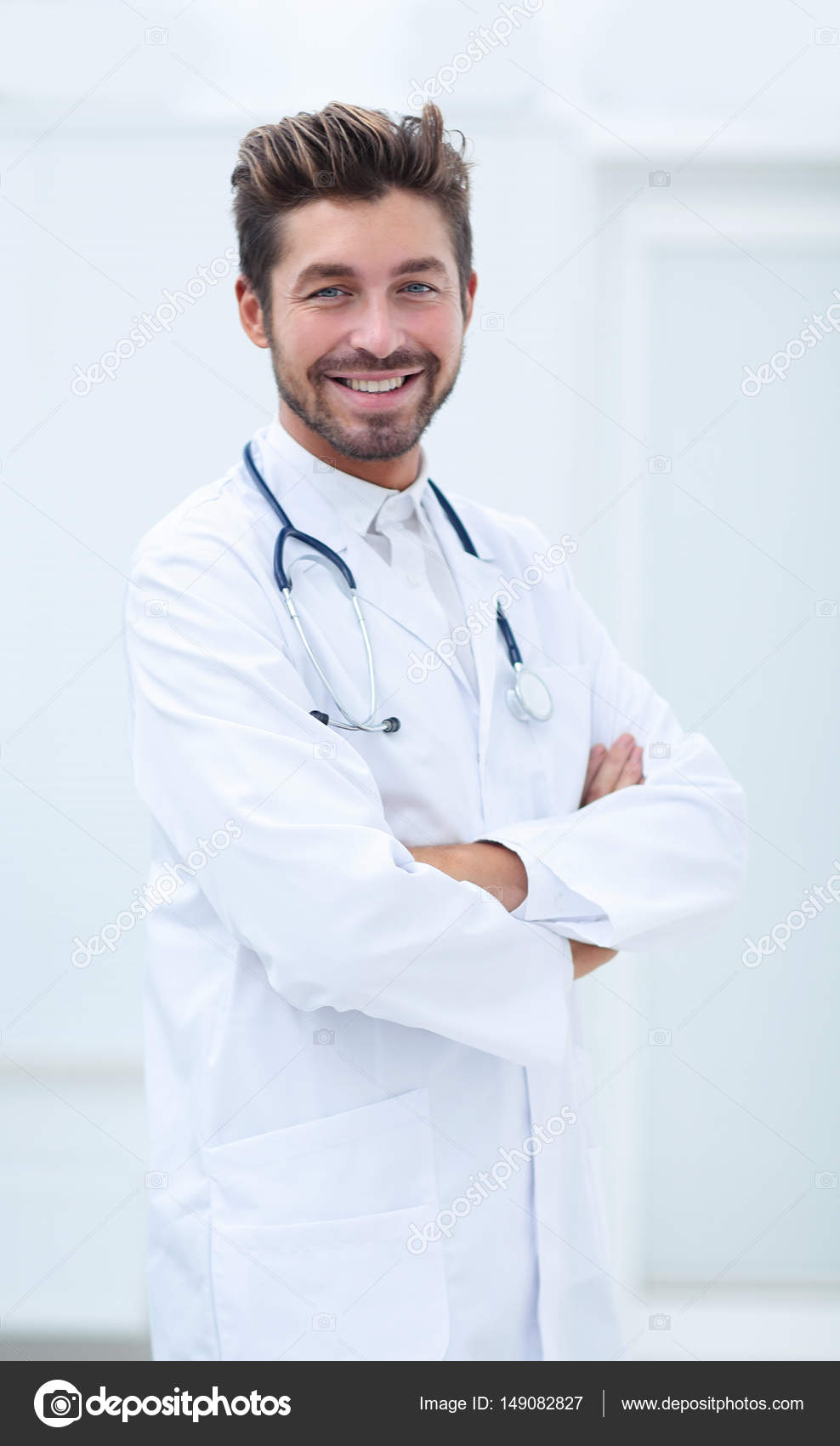 Portrait Of A Smiling Doctor With A Stethoscope Around Neck Stock Photo C Depositedhar 149082827