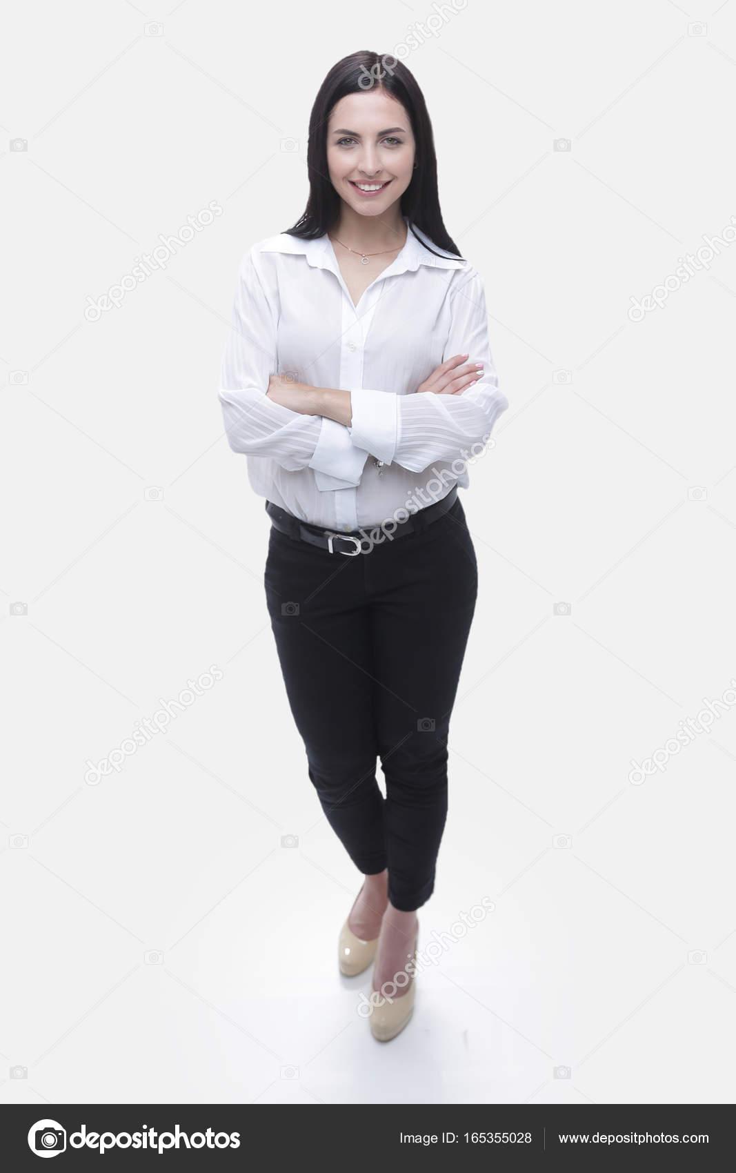 8b50953a30 Donna di affari in camicia bianca e pantaloni neri. foto con lo spazio della  copia. — Foto di depositedhar