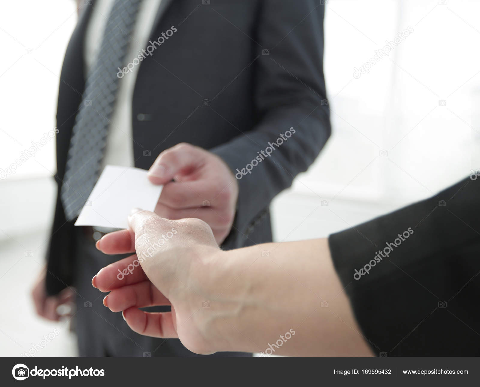Exchange business card for first time meet — Stock Photo ...