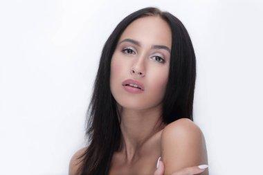 Young woman close up face beauty portrait