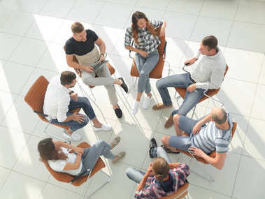 top view of business team discussing new ideas.