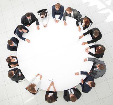 large group of business people sitting at the round table. the business concept.