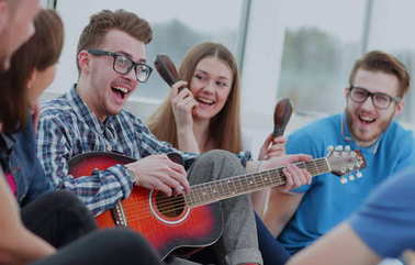 Funny young people smile and having  fun