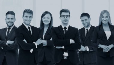 Large group of excited business people. Isolated on white