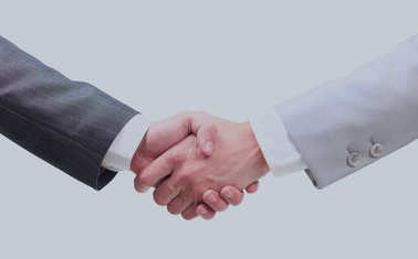 Two businessmen hands handshake isolated on white.