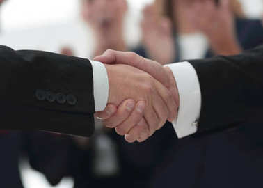 closeup of handshake of business partners on background of employees
