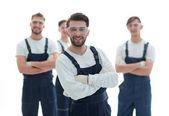 šéf a tým profesionálních průmyslových pracovníků