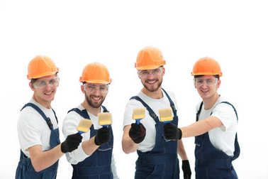 Closeup.portrait of team of construction workers .photo with copy space stock vector