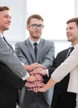closeup. business team with hands clasped together