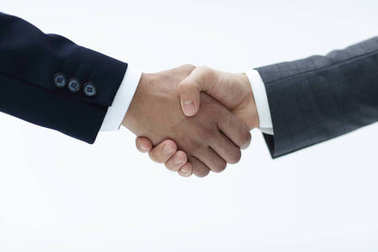 Business handshake - closing a deal on a gray background stock vector