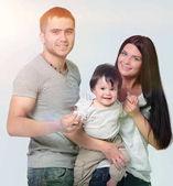 Fényképek boldog család mosolyog elszigetelt fehér background