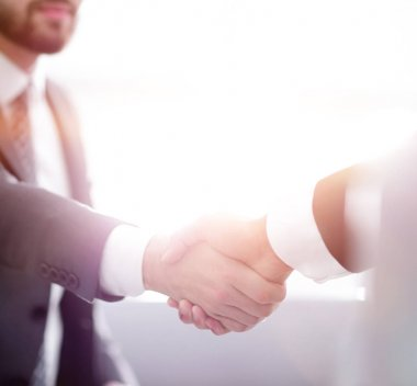 businessman shaking hands in office