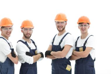 Smiling team of construction workers .photo with copy space stock vector