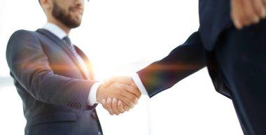 Businessmen making handshake - business etiquette, congratulatio