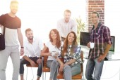 Photo portrait of a creative team in a workplace in the office