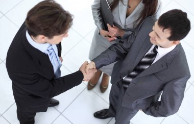 business partners before a business meeting