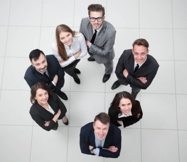 view from the top. young and promising business people