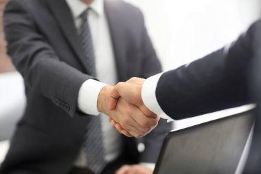 Confident businessman shaking hands