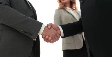 Businessmen shaking hands making an agreement stock vector