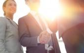 Fotografie image of handshake of business partners.