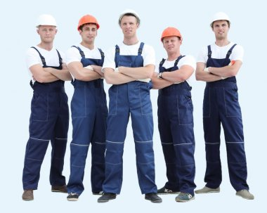 Group of builders in overalls isolated on white background stock vector