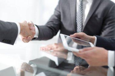 Closeup of a business handshake stock vector