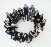 Fotografie Konzept des Team-building-geräumige erfolgreiches Team in einem Kreis sitzen