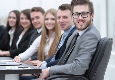 business team sitting at Desk in the conference room