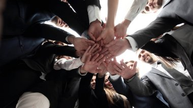 large business team is forming a circle and his hands clasped together