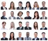 Fotografie koláž z portrétů podnikání lidí izolovaných na bílém