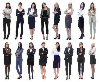 In full growth.collage of a group of successful young business women. isolated on white background stock vector