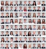 sikeres alkalmazottak fehér alapon elszigetelt csoportjának portréi