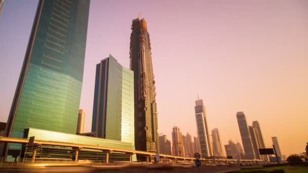Timelapse view of Skyscrapers at the Sheikh Zayed Road with traffic in Dubai