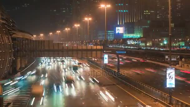 DUBAI, UAE - SEPTEMBER 21, 2014: timelapse view road traffic at the Sheikh Zayed Road in Dubai
