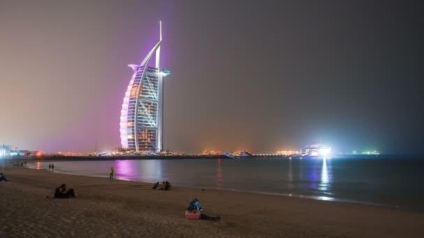 DUBAI, UAE - SEPTEMBER 22, 2014: Timelapse view Dubai downtown and famous buildings