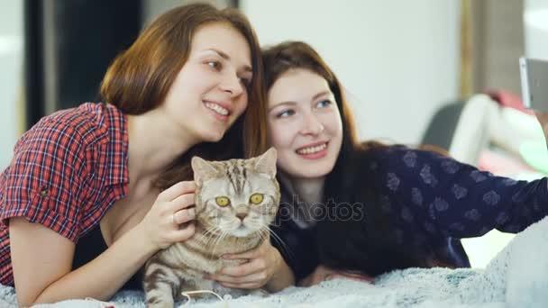 Két boldog nő meg, az ágyban fekve, és így selfie a macska, és érezd jól magad otthon ágyon