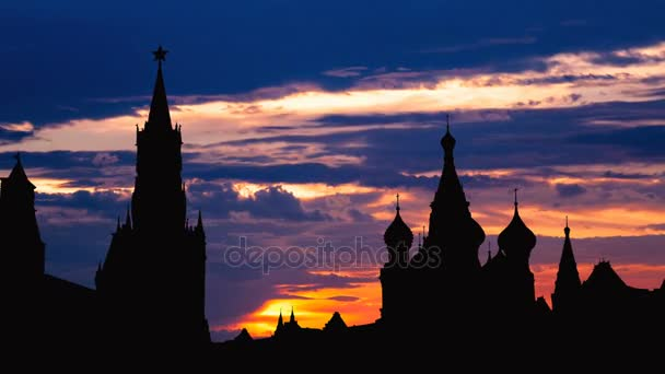 Timelapse of gorgeous sunset on Moscow historical center Red Square and Kremlin tower silhouette