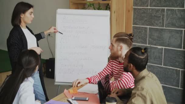 Veselá podnikatelka vysvětlující start-up podnikatelský plán o blockchainových technologií na flipchart kolegům v moderní podkrovní kanceláři uvnitř
