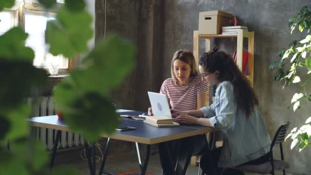 Young business partners are working with laptop and talking. Dark-haired woman is typing, blonde is suggesting ideas. They are celebrating success with high five.
