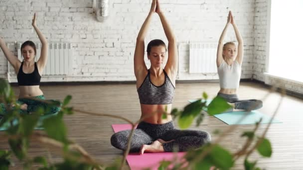 Flexibilní mladé ženy dělají sedící vedlejší ohyby z lotosové pozici. Komplex táhnoucí ásany během skupiny jóga praxe koncept.